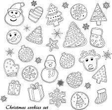 christmas cookies clip art black and white.  Art Christmas Cookies Set Vector Art Illustration In Christmas Cookies Clip Art Black And White I