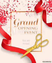 Grand Opening Invitations Grand Opening Event Lettering With Red Ribbons Opening