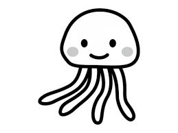かわいいクラゲの白黒イラスト かわいい無料の白黒イラスト モノぽっと