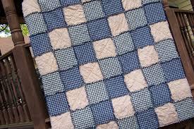 Queen Size Rag Quilt in Navy Blue Homespun Country Primitive & 🔎zoom Adamdwight.com