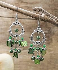 green mother of pearl crystal chandelier earrings