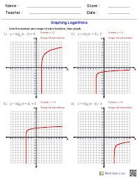 graphing logarithms worksheets