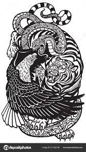 орел змея тигр три духовных символические животные черно белые