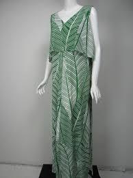 Chicos Green White Leaf Print Matte Jersey Bib Detail Maxi