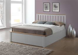 phoenix wood ottoman bed frame storage small double 4ft pearl grey oak solid