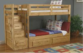 image of wooden loft bed with stairs