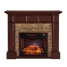 faux stone media infrared electric fireplace in whiskey maple
