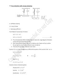 Viscous Damping Free Vibration With Viscous Damping