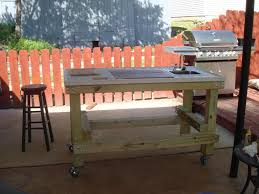 outdoor grill prep table wood