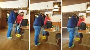 watch the moment man taps keg and causes it to explode will have you in stitches