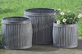 the french country style belly bucket planters set of 3 galvanized metal corrugated cache pots rustic
