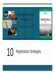 Chapter 10 Negotiation Strategies 1 Pdf International