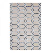 koko blue geometric rug  therugshopuk
