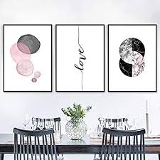 Canvas <b>Print</b> Painting,3 Piece Modern Abstract Pink Grey Geometry ...
