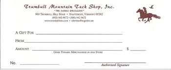Store Gift Certificate Template Trumbull Mountain Gift Certificate 50 00 Trumbull Mountain Tack Shop