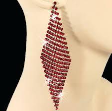 unforgettable long ruby red liquid crystal chandelier dangle earrings
