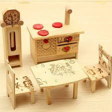 kids dollhouse furniture doll house mini wooden furniture cabinet table chair clock decor dollhouse game