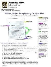 Writing A Friendly Or Personal Letter To Your Sister School