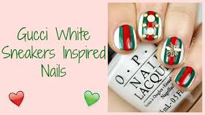Gucci White Sneakers Inspired Nails / Nail Art - YouTube