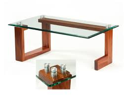 contemporary sapele wood  glass top coffee table by rex white
