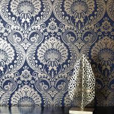 Wallpaper Navy Blue Gold Metallic ...