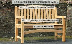 garden bench plaque our 2 seat teak bench has pretty curved rails both top and bottom enabling us to put a wood inscription on either or both rails outdoor