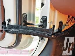 jk wrangler smart door upgrade jp magazine Jeep Wrangler Door Wiring Harness door de dumbing new fabric strap installed photo 41767851 jeep wrangler door wiring harness replace dog
