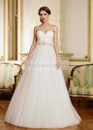 A Line Strapless Sweetheart Neckline Ivory Lace Tulle Wedding