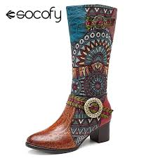 socofy retro genuine leather knight cowgirl boots women shoes woman cowboy western mid calf boots women zipper block heels botas leather boots for women