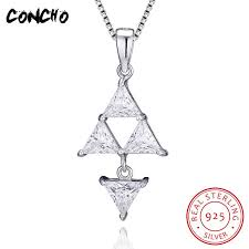 2019 concho jewelry 925 sterling silver triangle zircon necklace for women wedding best gift 2018 concho jewelry pendant necklace from frenky