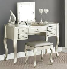 makeup silver vanity table with mirror also available in black white and cherry dressing brush set