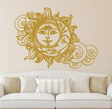 sun and moon wall decal crescent moon