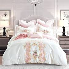 style white luxury embroidery cotton bedding set queen king size duvet cover pink
