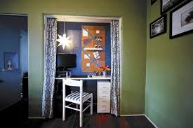 closet into office. Kyle Schuneman Helps Turn A Closet In Small 1920s Apartment Into An  Alcove Work Space Office