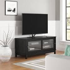 tv stand 55 media adjule shelf sliding glass doors home furniture black