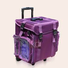 purple soft sided professional rolling makeup case w drawers leopard makeup case with mirror picture more