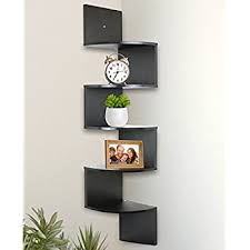 Pictures Of Corner Shelves Amazon Greenco 100 Tier Wall Mount Corner Shelves Espresso 3