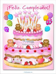 tarjetas de cumplea os para ni as torta con ositos rosa imágenes de cumpleaños tarjetas