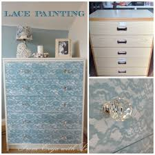 How to update An Old Piece of Furniture Using Lace and Spray Paint
