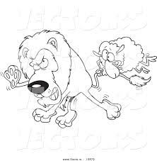 Vector of a Cartoon Sheep Attacking a Lion - Outlined Coloring ...