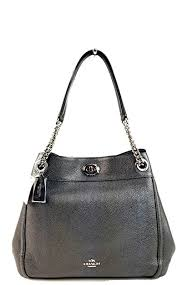 Coach Turnlock Edie Metallic Graphite Polished Pebbled Leather Shoulder Bag  Grey Leather
