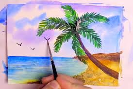 how to paint a tropical beach in watercolor sd painting tutorial seascape with palm tree you
