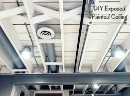 exposed ceiling lighting basement industrial black. DIY Painted Exposed Basement Ceiling. How To Get This Look! Ceiling Lighting Industrial Black S