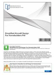 Aircraft Design Pdf Free Download Simplified Aircraft Design For Homebuilders Pdf Pages 1