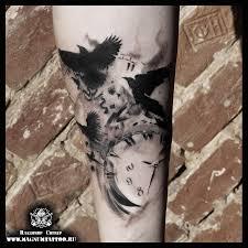 татуировки акварель часы в стиле клокворк стимпанк черно серая