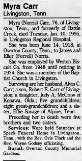 Obituary for Myra Carr, 1918-1995 (Aged 76) - Newspapers.com
