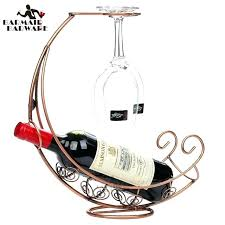 creative copper plated metal wine rack hanging glass holder pirate ship shape bar shelving double gear bottle holder metal wine