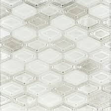 a white glass mosaic beveled elongated hex tile by jeffrey court