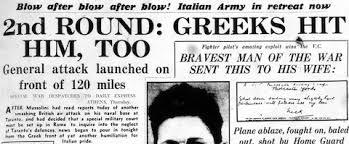 Αποτέλεσμα εικόνας για battle of greece 1940 newspapers