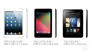 ipad size comparison ipad mini vs nexus 7 vs kindle fire hd size comparison